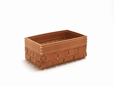 Tanned leather storage box INTRECCI | RECTANGULAR BASKET 2