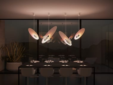 LED glass and aluminium pendant lamp INTROVERT EXTROVERT LARGE