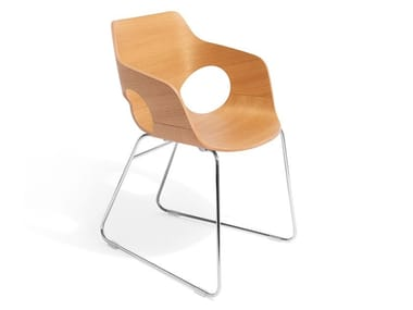 Sled base wooden chair with armrests IOWA | Wooden chair