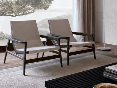 Leather Armchair With Armrests IPANEMA | Leather Armchair. Poliform