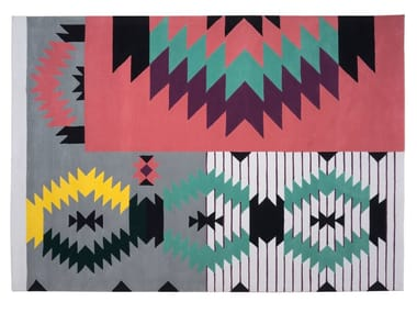 Handmade rectangular wool rug with geometric shapes IRONIC