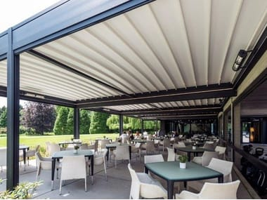 Wall-mounted aluminium pergola ISOLA 2 | Wall-mounted pergola