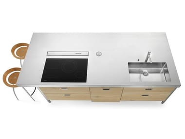 Stainless steel kitchen island unit with side snack area ISOLA LC 280 SNACK
