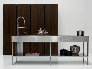 Steel Kitchen unit with shelving ISOLA SLIM