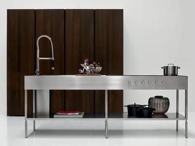 Modulo cucina freestanding in acciaio con ripiani ISOLA SLIM