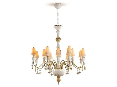 Lampadario a LED in porcellana IVY&SEED 16 WHITE AND GOLD