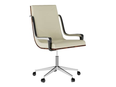 Swivel leather chair with armrests with castors JACKIE | Chair with castors