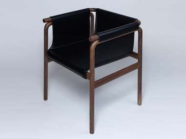 Leather chair with armrests JADE