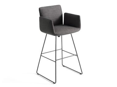 Sled base fabric swivel barstool with armrests JALIS | Swivel stool