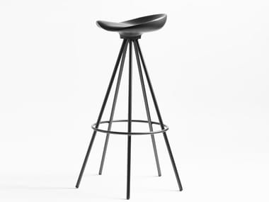 High trestle-based aluminium and wood stool JAMAICA | High stool
