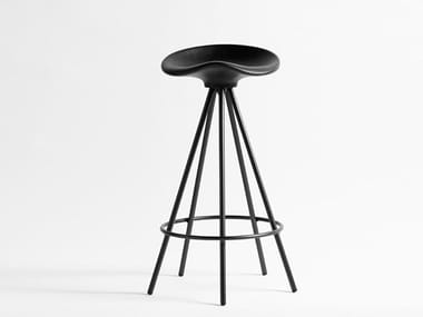 Trestle-based aluminium and wood stool with footrest JAMAICA | Trestle-based stool