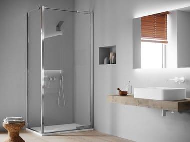 Box doccia angolare in acciaio inox e cristallo con porta pivotante JANAS | Box doccia angolare