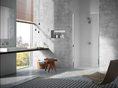 Box doccia a nicchia in acciaio e cristallo con porta pivotante JANAS | Box doccia a nicchia