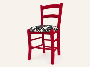 Lacquered wooden chair with integrated cushion JANE