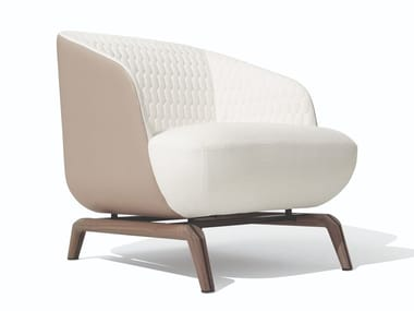 Upholstered fabric armchair with armrests JANET | Armchair