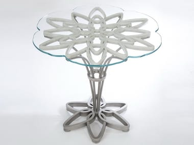 Marble, glass and Stainless Steel table JASMINE