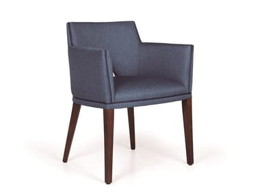 Upholstered fabric chair with armrests JASPER MAPLE