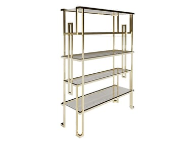 Open glass and steel bookcase JAZZ | Bookcase