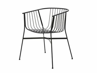 Powder coated steel garden chair JEANETTE