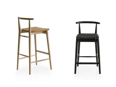 High rope stool with footrest JENS | Rope stool