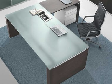 Rectangular office desk with cable management JET | Satin glass office desk