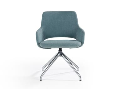 Swivel trestle-based fabric chair with armrests JIMA | Trestle-based chair