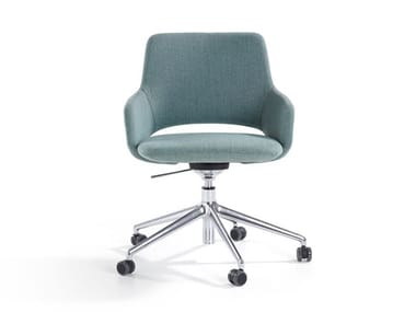 Fabric chair with 5-spoke base with castors JIMA | Chair with castors