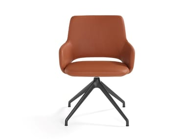 Trestle-based open back leather chair with armrests JIMA   Leather chair