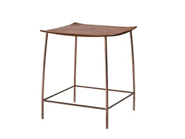 Square steel and wood coffee table JK | Square coffee table