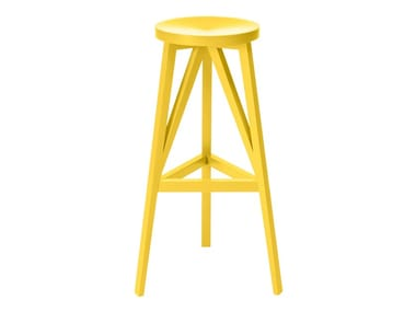 High wooden stool with footrest JL4 | Wooden stool