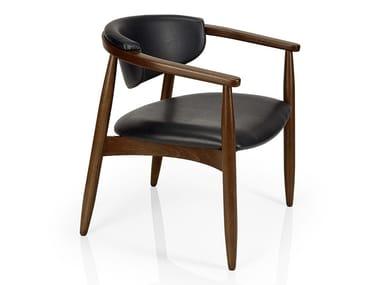 Cadeira de pele de restaurante com braços JOANNA | Cadeira com braços