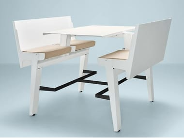 Folding aluminium bench desk with integrated chairs JOINTABLE