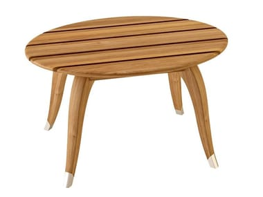 Oval teak garden side table JONQUILLE | Garden side table