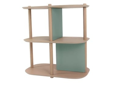 Freestanding double-sided wooden bookcase JOSEPH