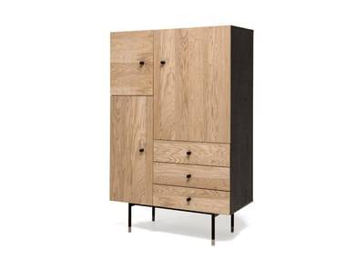 Wood veneer highboard with drawers JUGEND | Highboard