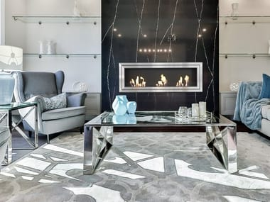 Built-in bioethanol wall-mounted glass and steel fireplace JULIET