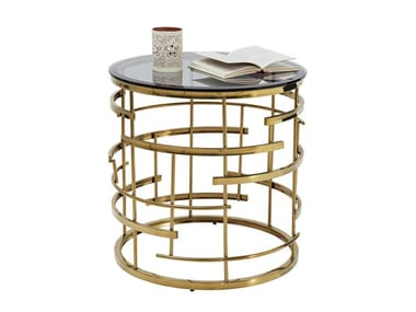 Round Glass And Steel Side Table JUPITER | Side Table