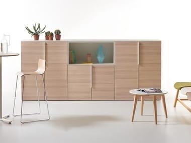 Office furniture in sweden oak and metal handles K-BOX   Oak office storage unit