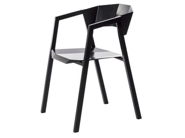 Open back aluminium chair with armrests K | Chair