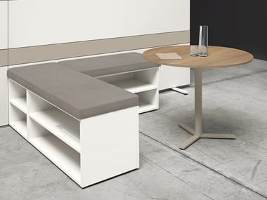 Modular wooden bench seating K-WORD | Bench seating