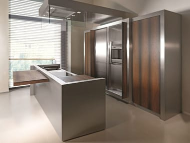 Stainless steel and wood kitchen with island K04