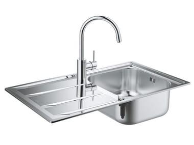 1 Becken Einbauspülbecken aus Edelstahl mit Abtropffläche K400 | 1 Becken Spülbecken