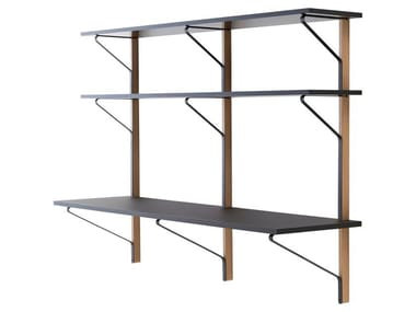Wall Shelf with Desk KAARI | Shelving unit with secretary desk