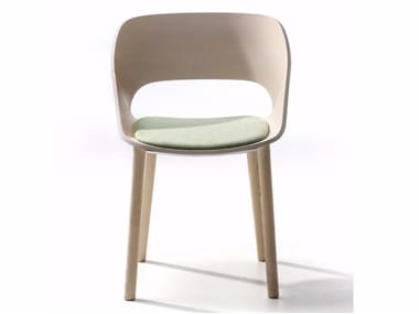 Ash chair with integrated cushion KABIRA WOOD 4WL | Chair with integrated cushion
