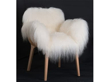Fur easy chair with armrests KAGO | Fur easy chair