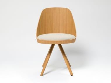 Stuhl aus Eichenholz auf fixem Fußgestell mit integriertem Kissen KAIAK SPIN WOOD | Stuhl