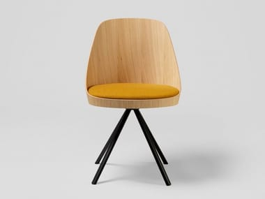 Trestle-based oak chair with integrated cushion KAIAK SPIN | Trestle-based chair