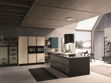 Kitchen with integrated handles with peninsula KALEIDOS 05