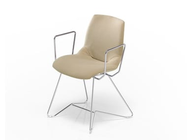 Sled base fabric chair KALEIDOS | Fabric chair
