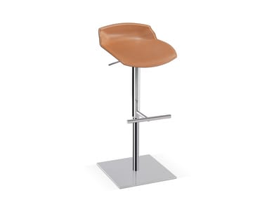 Tanned leather stool with footrest KALEIDOS | Tanned leather stool